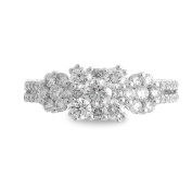 18K White Gold 1.00ct TDW Square Diamond Cluster Ladies Fashion Band