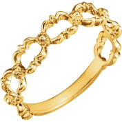 14K Yellow Beaded Stackable Ring in 14k Yellow Gold