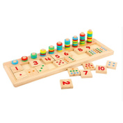 Leegor Colourful Puzzle Teaching Tool Rainbow Donuts Educational Toy Abacus Math Number Wood Board Preschool Toy Kid