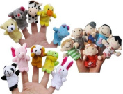 Acefun 16 Pack Soft Plush Finger Puppets Set - MANSA 10 Animals + 6 People Family Members Velvet Cute Toys for Children, Story Time, Shows, Playtime, Schools