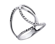 G & H Sterling Silver Size 10 Negative Space Geometric Crossover Ring with Diamond Cut