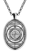 Solomons Saturn 5 for Protection of Home & Theft Huge Silver Pendant