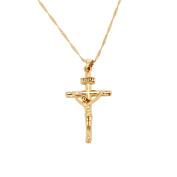 24K Gold Jesus Cross Necklace Religion Crucifix INRI Pendant Jewellery