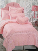 Nicole Miller Home Kids Faux Fur Coverlet (Pink with Gold Hearts) Twin