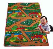 Kids Rug Farm Area Rug 0.9m x 1.5m Children Area Rug for Playroom & Nursery - Non Skid Gel Backing 100cm x 150cm