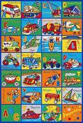 Educational Kids Rug ABC Transportation Children Area Rug for Playroom & Nursery - Non Skid Gel Backing 100cm x 150cm