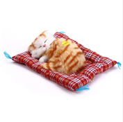 Simulation Animal Doll Plush Sleeping Cats Toy with Sound Kids Toy Decorations Stuffed Toys
