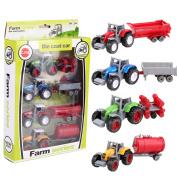 eshion 4pcs 1:64 Die Cast Model Cars for Child Kids Children Farm Series Tractor Toys with Trailer Set