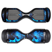 MightySkins Protective Vinyl Skin Decal for Swagtron T1 Hover Board Self Balancing Smart Scooter wrap cover sticker skins Blue Flames