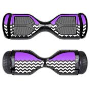 MightySkins Protective Vinyl Skin Decal for Swagtron T1 Hover Board Self Balancing Smart Scooter wrap cover sticker skins Purple Chevron