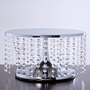 Breathtaking Crystal Pendants Metal Chandelier Wedding Cake Stand - 19cm Tall
