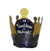 """Amscan """"Countdown to Midnight"""" Mini Gold Glitter Crown Party Hat, 10cm"""