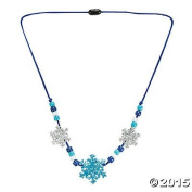 Beaded Glitter Foam Snowflake Necklace Craft Activity Kit for Kids-Jewellery Crafts-makes 12 by FX