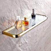 Leyde Solid Brass Bathroom Wall Mount Single Layer Rectangle Glass Shelf Black Gold Finish Bathroom Storage Bathroom Accessories Holder