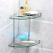 Leyden TM Solid Brass Wall Mounted Glass Double Corner Shelf with Hooks - Oval Series