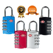 TSA Approved Luggage Locks 4 Digit Combination theft Protection on Our Durable Heavy Duty Travel Baggage Lock, Padlock and Suitcase Lock (Multi colour 4 Pack) ¡­