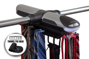 ClosetMate Motorised Tie Rack -Free Travel Tie Case - Built in LED Light Fits More than 70 Ties & Belts - Rotating Tie Racks has Added J hooks to work with wired shelving - Great Gift