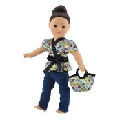 46cm Doll Clothes Fits American Girl - Satin Tunic & Jeans Outfit Includes 18 Dolls Accessories by Emily Rose Doll Clothes