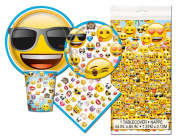 Emoji Themed Birthday Deluxe Party Pack Serves 16 Plates Cups Napkins & Tablecloth