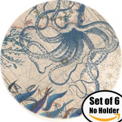 ENKORE Coasters Set of 6 - Absorbent Natural Ceramic Thirsty Stone Keep Spill Off Table, Coaster For Drinks With Vibrant Colours And Cork Backing - Octopus On World Map Novelty Design Without Holder