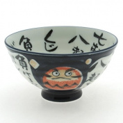 2 Pc Japanese Dark Blue Daruma Rice Bowl Set Includes 2 Bowls