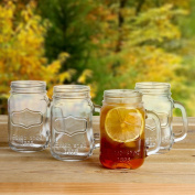 Lily's Home Old Fashioned Vintage Inspired Mason Jar Glasses With Handles Set of 4. 470ml