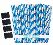 Outside the Box Papers Blue Stripe, Chevron and Polka Dot Paper Straws 20cm 75 Pack Blue, White