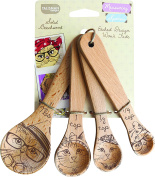 Talisman Designs Measuring Spoons, Solid Beechwood, Laser Etched Cat Collection, 4 Piece Set includes 1 Tablespoon, 1 teaspoon, 1/2 teaspoon and 1/4 teaspoon