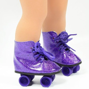 Purple Glitter Roller Skates for 46cm Dolls - Roller Skates for American Girl Dolls - the Cutest Doll Shoes and Doll Accessories by The New York Doll Collection