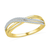 Diamond Ring Features Diamonds In A Swirl Pattern In 10K Yellow Gold For Her