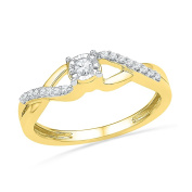 Elegant Infinity Ring In 10K Yellow Gold And Diamonds For Her