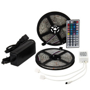 EPBOWPT 2Reels(10M/32.8ft) SMD 5050 Waterproof 300LEDs RGB Colour Changing Flexible LED Strip Light+44Key Dual connectors IR Remote Controller+12V 5A Power Supply