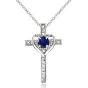 Sterling Silver Gemstone Cross Heart Necklace