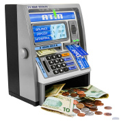 Ben Franklin Toys Kids Talking ATM Machine Savings Bank with digital screen and electronic calculator for kids, Silver