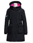 YRF/ Women's Solid Black Parka Coat , Casual Hooded Long Sleeve