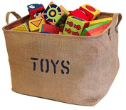 Jumbo Storage Bin Jute Organiser Eco-Friendly Basket Perfect for Baby and Kids Toys, Clothing, Cute Gift, Library books