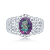 Sterling Silver 3.53 ct. Mystic Topaz and White Topaz Anniversary Ring