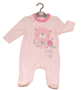 Rock-A-Bye-Baby Velour All-in-one Pink Baby Girl Outfit. Available for ages 0-9 Months in 3 sizes 0-3mths, 3-6mths, 6-9mths