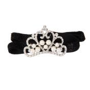 MA-on Baby Girl Crown Pattern Headband Faux Pearl Rhinestone Headwear - Black
