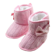 Minetom Baby Girls Winter Shoes Cute Bowknot Knitted Booties Cute And Soft Style Soft Sole Warm Boots