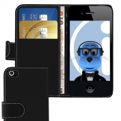 iTALKonline Apple iPhone 4 4S (2011) 4G HD BLACK PU Leather Executive Multi-Function Wallet Case Cover Organiser Flip with Credit / Business Card Money Holder