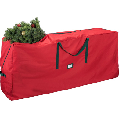 Zober Premium Christmas Tree Bag - Artificial Christmas Tree Storage for Trees up to 9' Tall - Also Accommodates Holiday Inflatables | 65 x 15 x 30 | Red