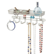 mDesign Fashion Jewellery Organiser for Rings, Earrings, Bracelets, Necklaces - Wall Mount, 28cm , Satin