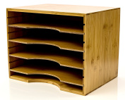 Intriom Bamboo File Organiser Mail sorter, With Four Adjustable Dividers Natural Wood Colour