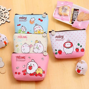 Katoot@ 4pcs Korean stationery Cute Molang Rabbit Mini PU Leather Pencil case Storage bags Kids gift stationery pouch office school supplies