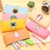 Katoot@ 4pcs Kawaii Cat school pencil case for girls Cute PU leather colourful pen bag stationery pouch office school supplies zakka