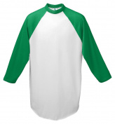 Augusta-Baseball Jersey Raglan 3/4 sleeves~White/Kelly Green~Youth-SM
