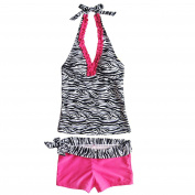 iEFiEL Youth Girls 2 Pieces Zebra Swimsuit Bathing Suit Swimming Costumes