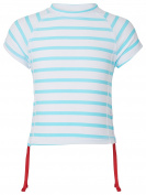Snapper Rock Girl UPF 50+ UV Protection Short Sleeve Striped Swim Shirt For Kids & Teens