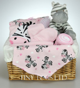 Baby Girl Hamper Gift Basket with 5 Piece Layette Set & Cute Zebra Baby Shower Present